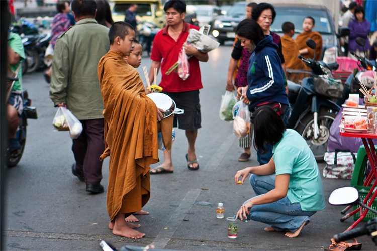 Early morning alms giving to the monks Chiang Mai
